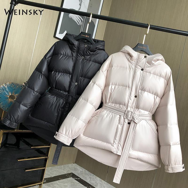 Novas mulheres espessas quente jaqueta com capuz jaquetas de pato branco casacos de inverno parkas feminino moda outwear C1204
