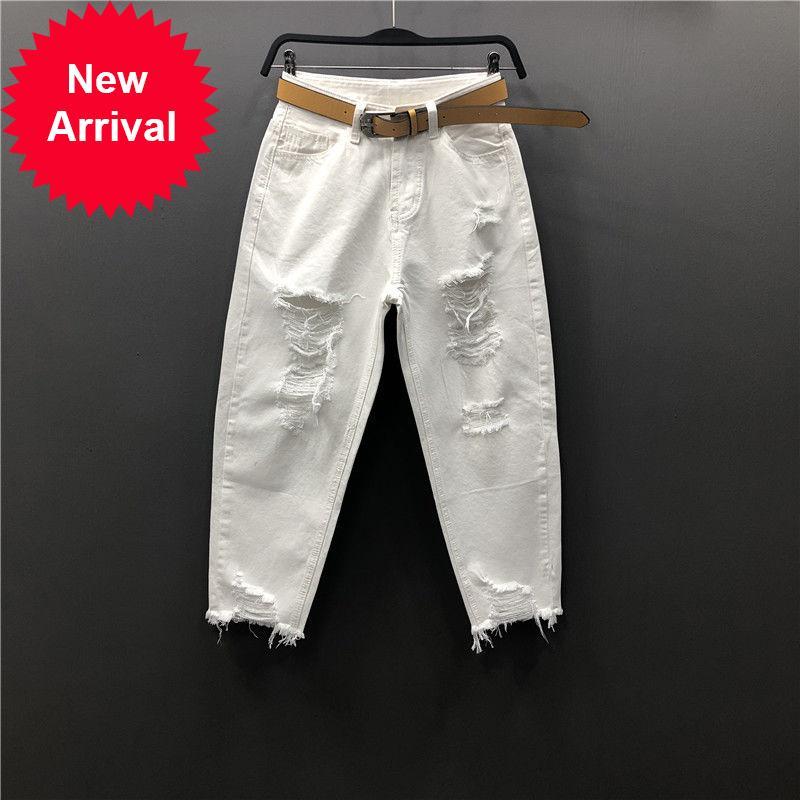 Корея мода Винтаж сорвал белые джинсы для женщин Свободные повседневные лодыжки Длина джинсовых гарем брюки джинс джинс лето новое