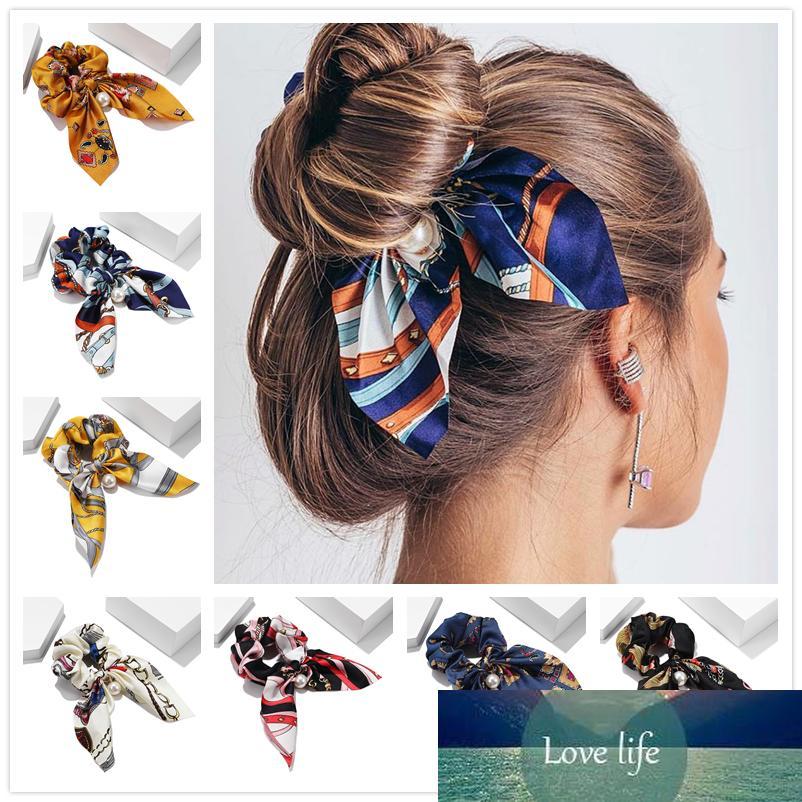 Moda Mujeres Retro Chiffon Bowknot Imprimir Diademas Coreano Elegante Tela Interrupción Cuerda Elástica Accesorios para el cabello para niña