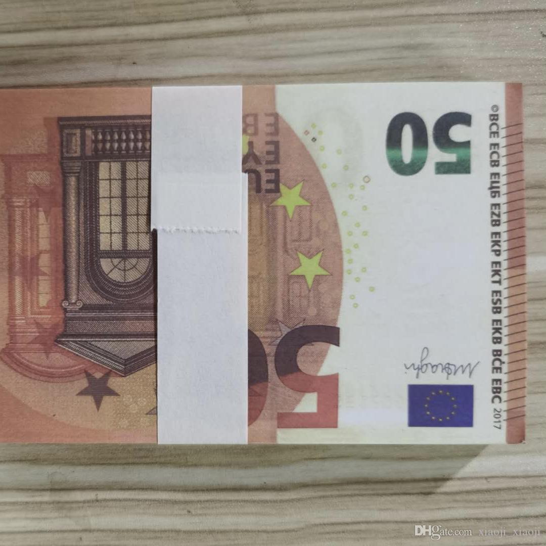 2020 50 евро США Семейный 100 шт. / Упаковка Реалистичные Дети Деньги Игрушка Игрушка или Оппинг Бумага Копировать Банкнота Play SPQTF