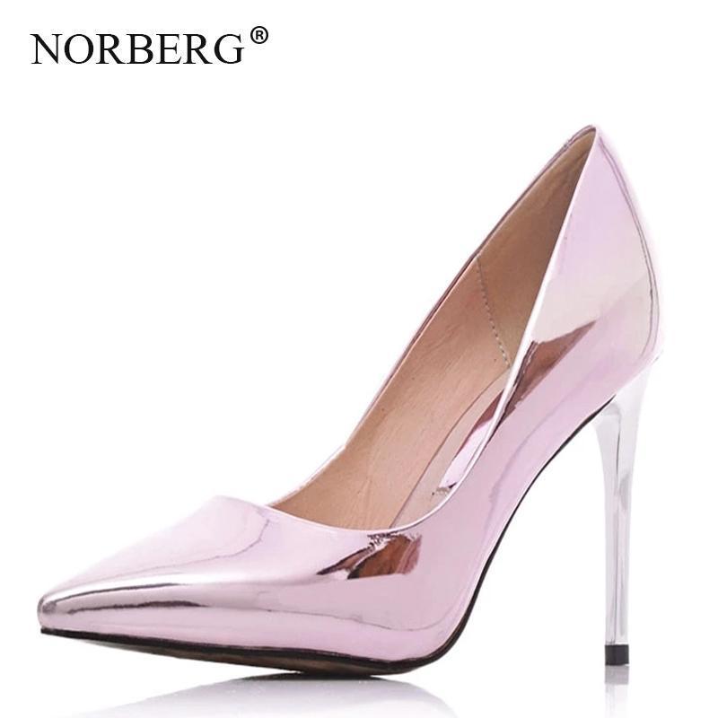 NORBERG Altın Deri Yüksek Topuk Sığ Ağız Stiletto Moda Düğün Ayakkabı Sequins Pompa Yaz Kadın Ayakkabı