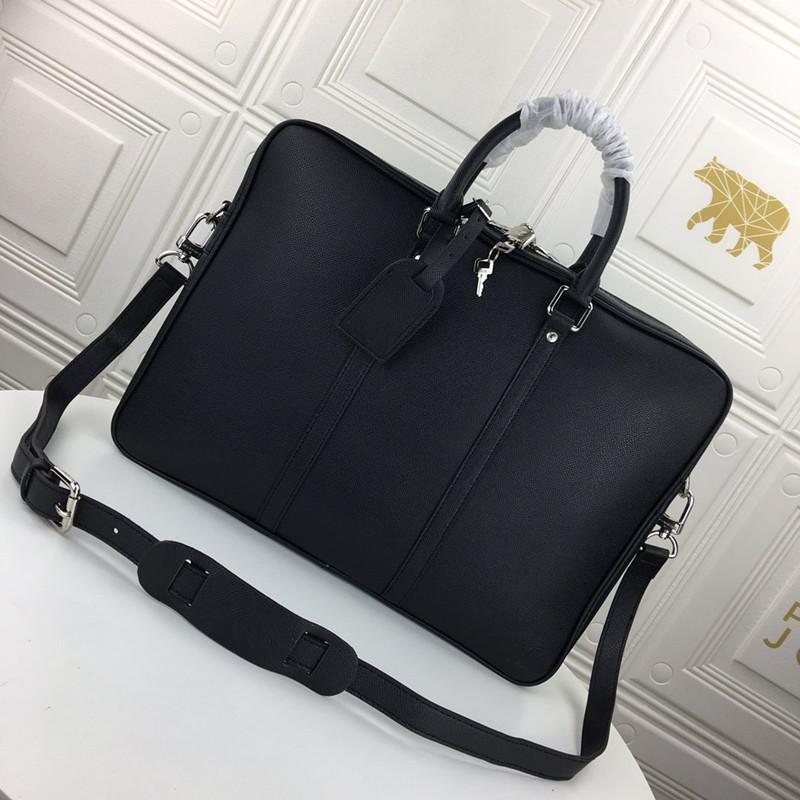Maletín de los hombres de cuero más nuevo Black Hombres de Lujo Bolsos de negocios Diseñador Messenger Bag Bag Portátil Hxcml Hxcml