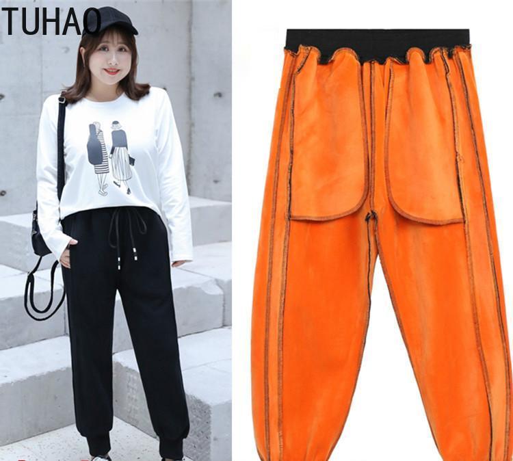 Tuhhao Winter Frauen plus Größe 8XL 7XL 6XL Casual Pant Fleece Hose Dicke Warme Winter Weibliche Hosen, die Pantalonen Mujer laufen