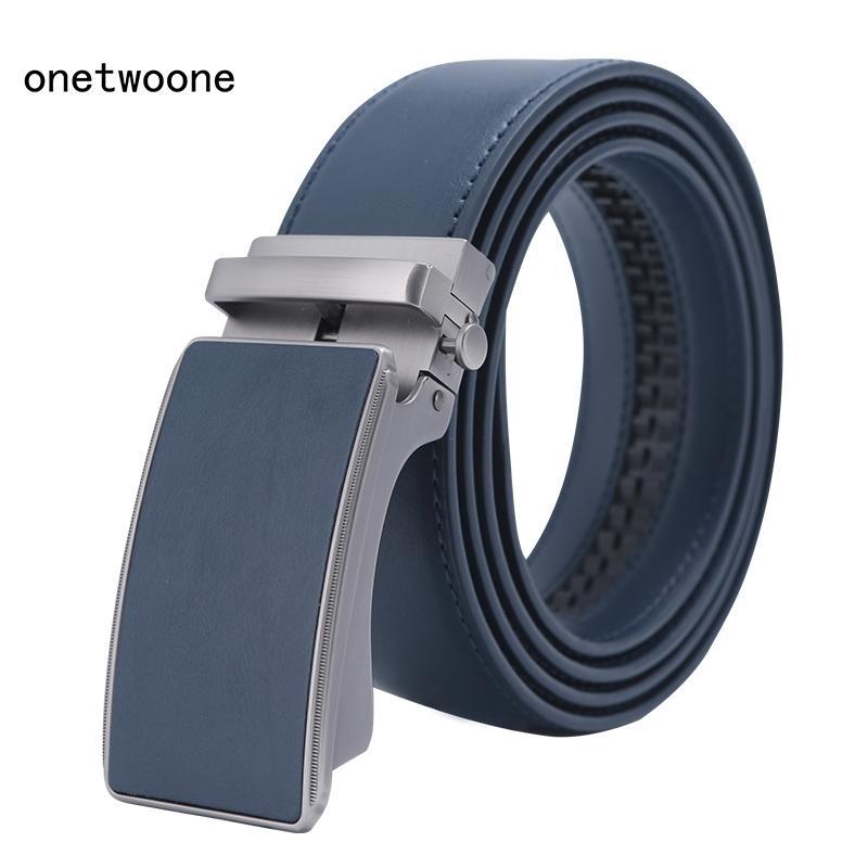 Cinturón de marca famosa Cinturón de cinturones de lujo genuinos de alta calidad para hombres correa masculina de metal azul cuero azul cinturones de hebilla hombres y200525