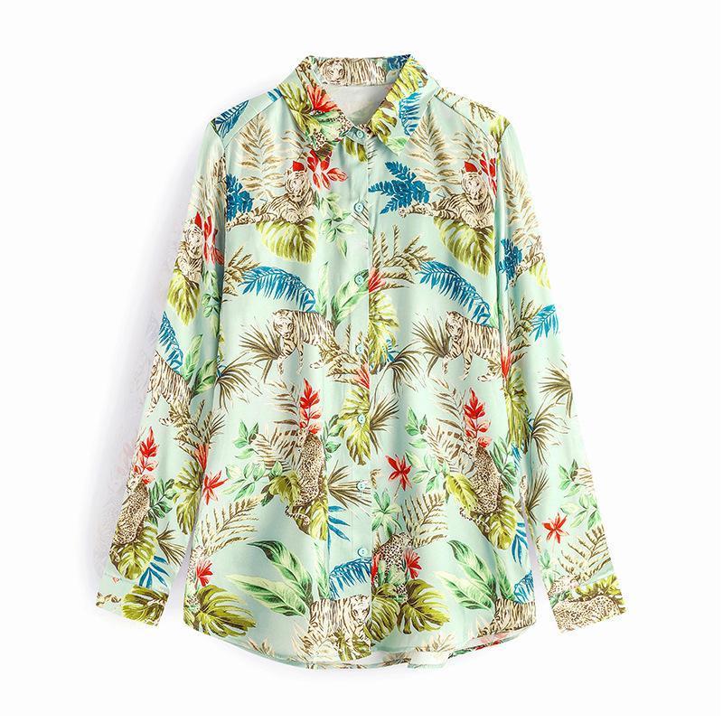 Primavera otoño moda manga larga casual imprimido solapa gasa blusa elegante mujer tops mujeres blusas moda mujer camisas