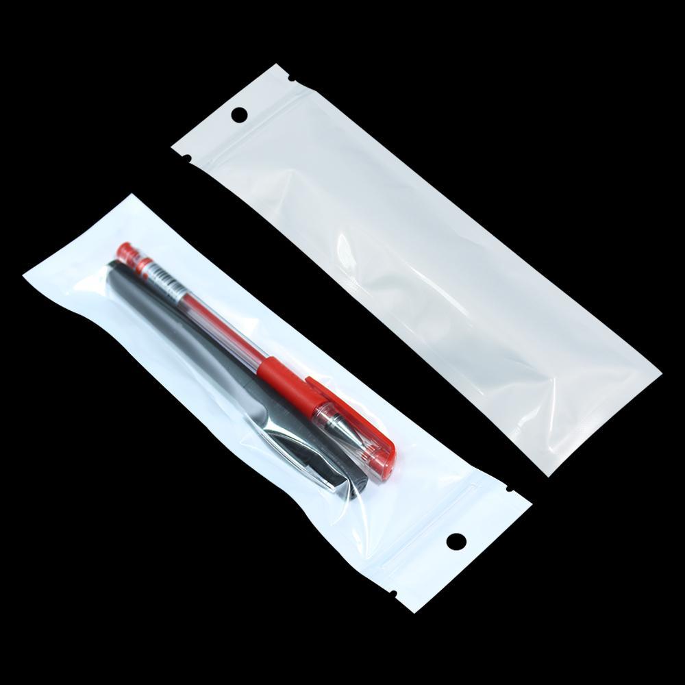 Blanco 100 unids / lote 6x22cm Cremallera automática sellable para el lápiz de la ceja Pluma del lápiz del auricular de la bolsa de plástico bolsa de la cremallera bolsa de la bolsa de la bolsa de la bolsa de la bolsa
