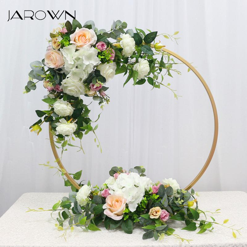 JAROWN New Wedding Party Table Centerpiece Flower Stand Artificial Flowers Home Round Backdrop Frame Shelf Decoration Accessory Z1120
