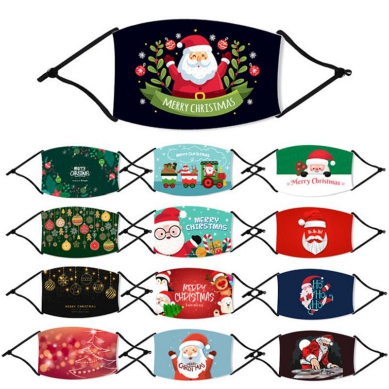 2021 새로운 패션 크리스마스 어린이 성인 얼굴 마스크 인쇄 크리스마스 얼굴 마스크 안티 먼지 안개 눈송이 입 커버 통기성 빨 재사용
