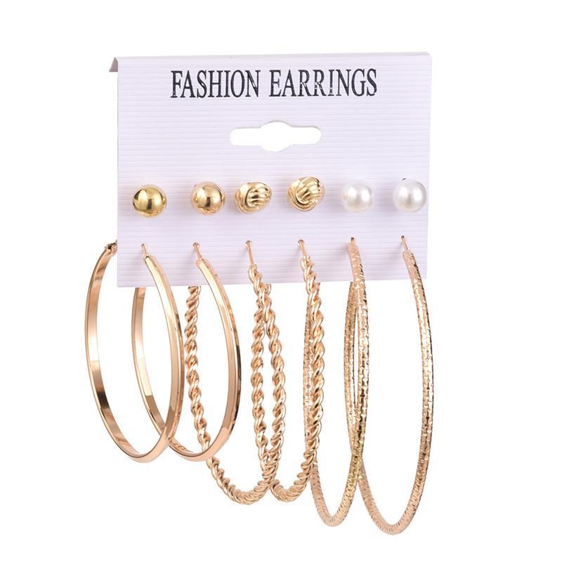 6 Pairs/set Hoop Earrings For Women Vintage Gold Mix Pearl Stud Round Circle Earring Set for Girls Pearl Earrings