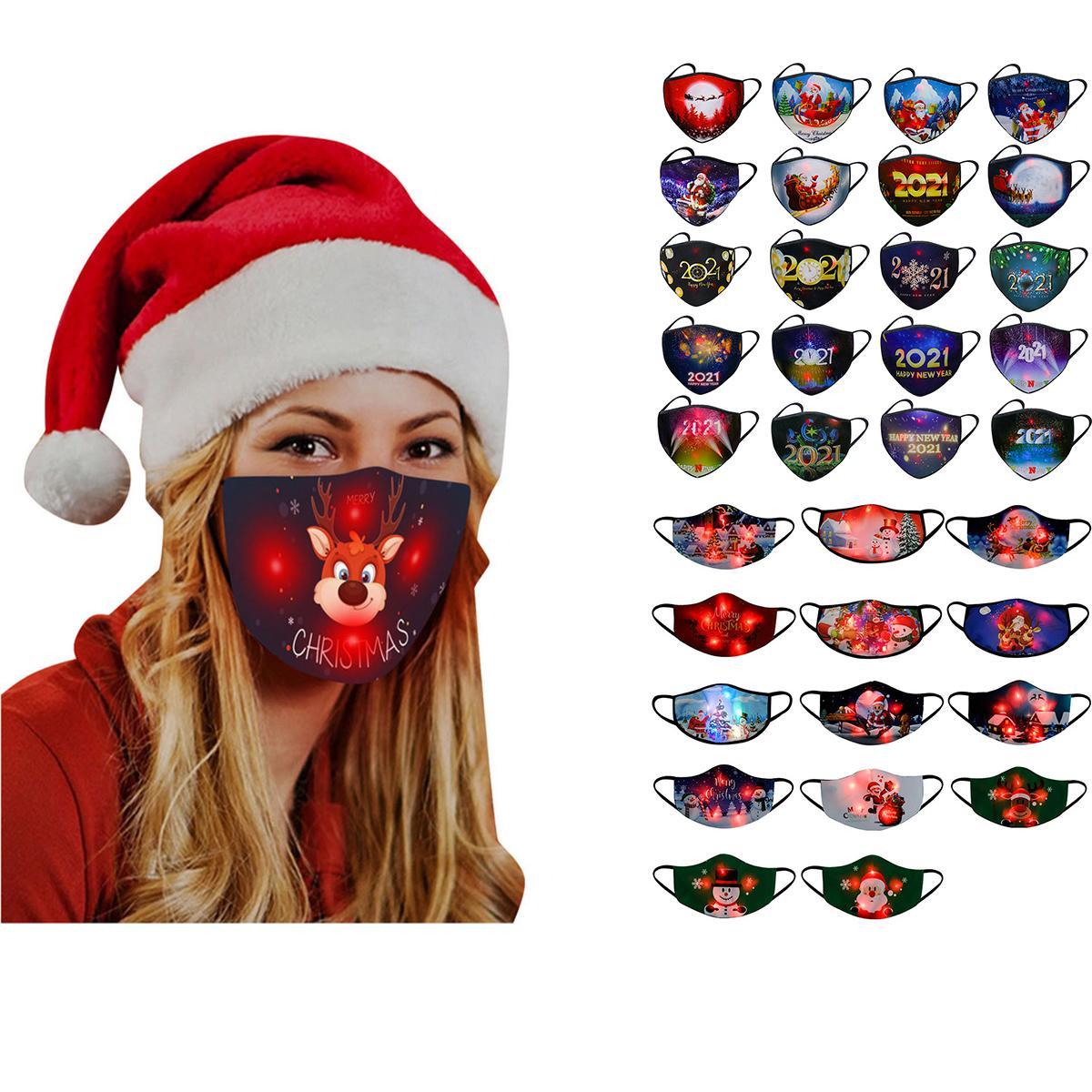 قناع عيد الميلاد مضيئة سانتا كلوز الأيائل حزب الكرتون الطباعة أدى مضيئة مضيئة قناع مصمم أقنعة الوجه W-00495