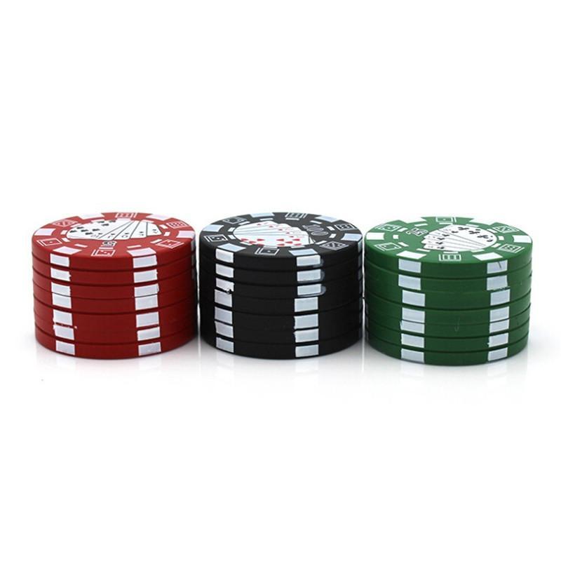 Poker Chip-Stil Tasche 40 mm 3 Teile Kräutermühle Aluminium Tabakbrecher Rauchen Zubehör DHL Schnell