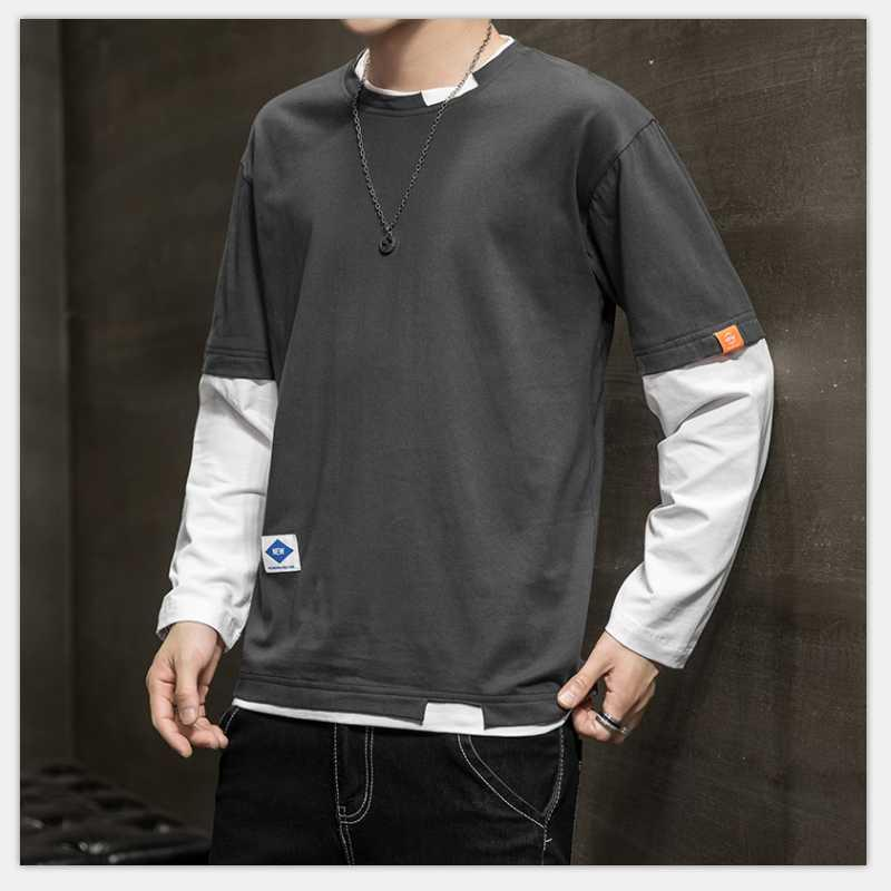 Длинный рукав Поддельные две рубашки Одежда Мужская мода 2020 Новый Большой Размер Футболки