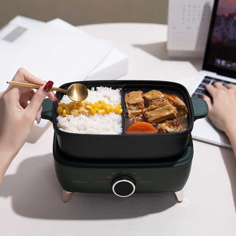 550 واط وعاء الطبخ الكهربائية المحمولة الكهربائية الغداء مربع الأرز طباخ سبليت نوع hotpot multicooker المقلاة الكهربائية المقلي عموم 220 فولت Y1201