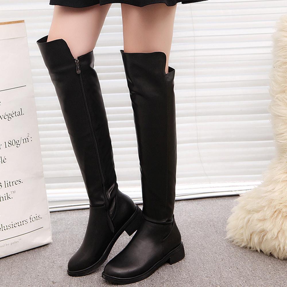 المرأة فوق الركبة بو الجلود دراجة نارية عالية الإناث أحذية الشتاء الجلد المدبوغ للنساء مثير الأزياء السوداء الأحذية