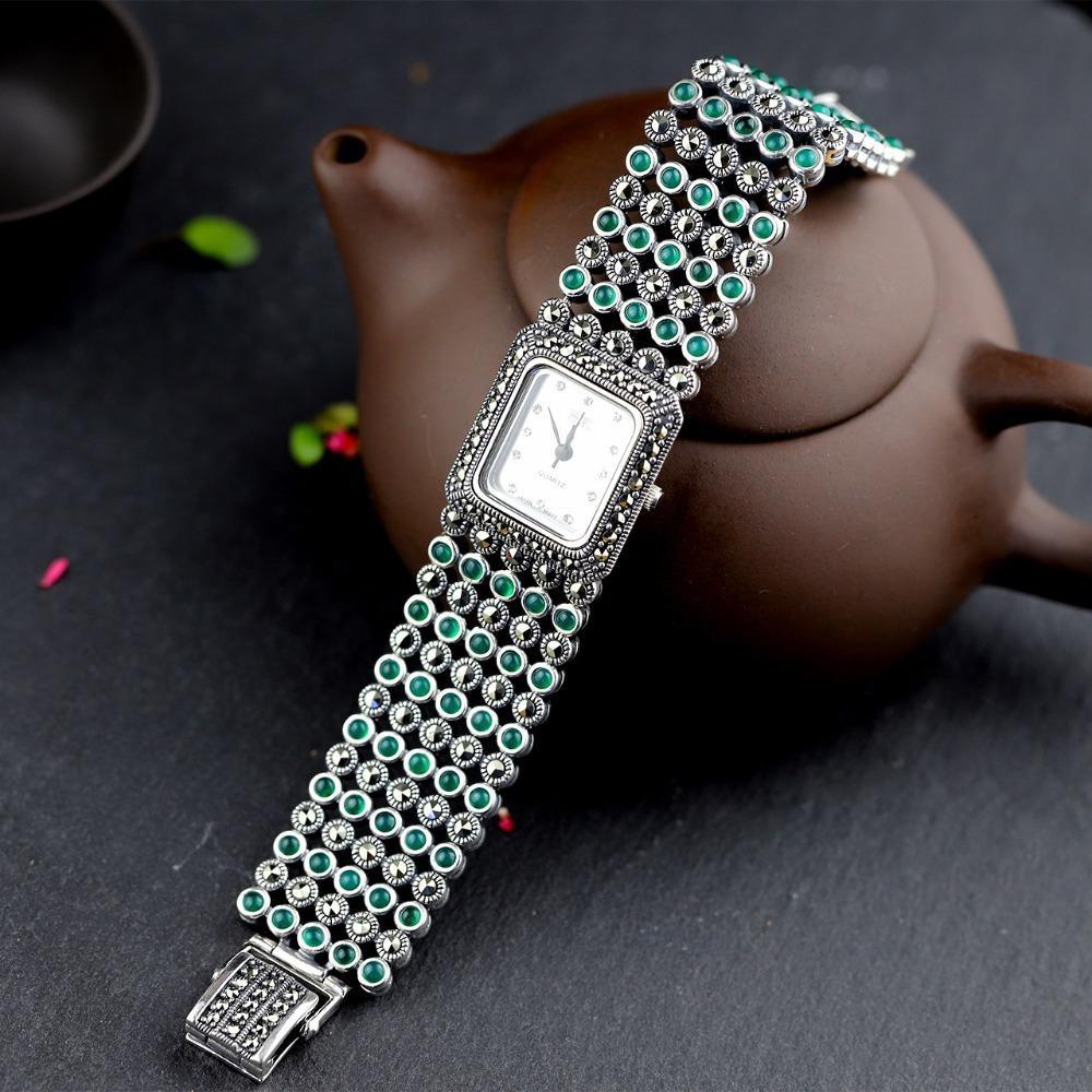 Venda Quente Mulheres Classic Thai S925 Watch Jade Pulseira Relógios Real Silver Bangle J1205