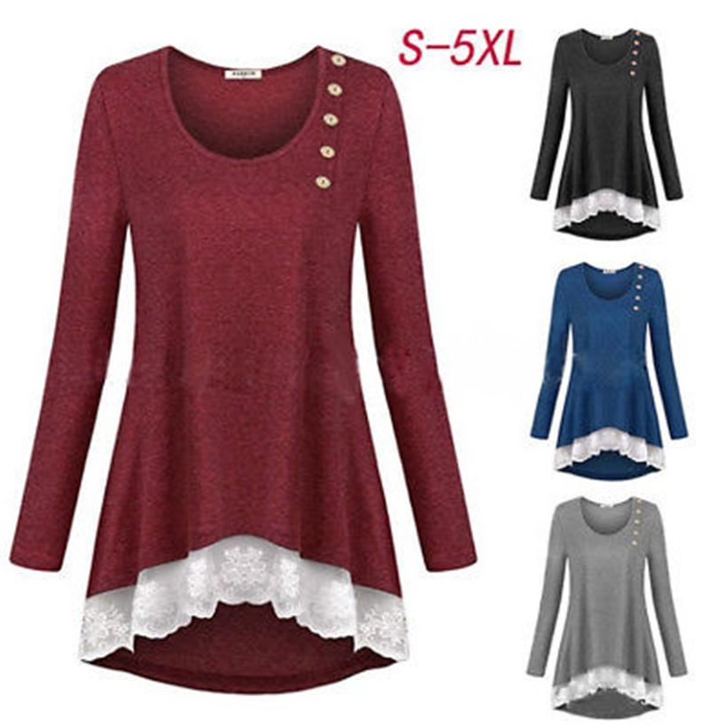 Mode Frauen Unregelmäßige Tops Lässige Bluse Baumwollhemd Herbst Spitze Tunika Hemd Langarm Weibliche Jumper Blusas Camisas Mujer