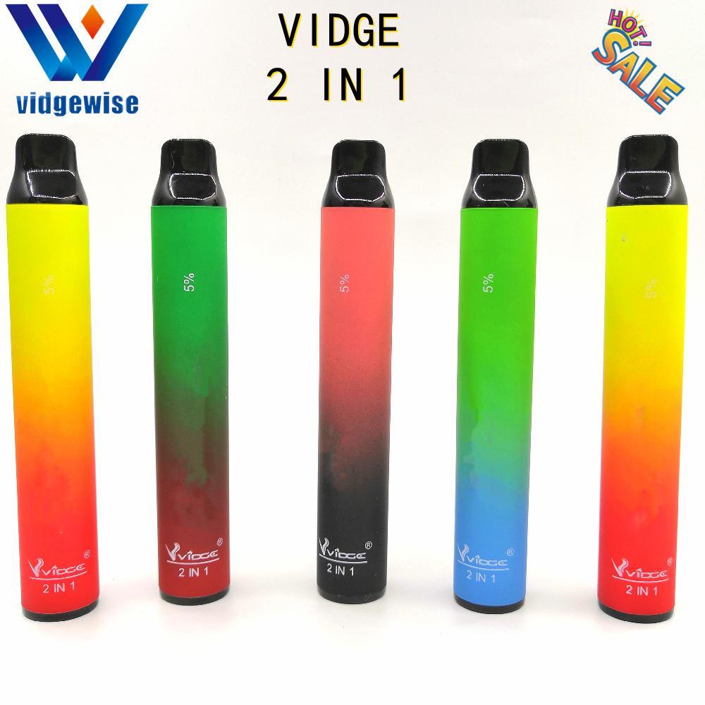 Più nuovo Vidge 2 in 1 200Puffs E-sigaretta monouso Penna vape monouso 950mah 3.0ml + 3,0 ml oltre 20 colori