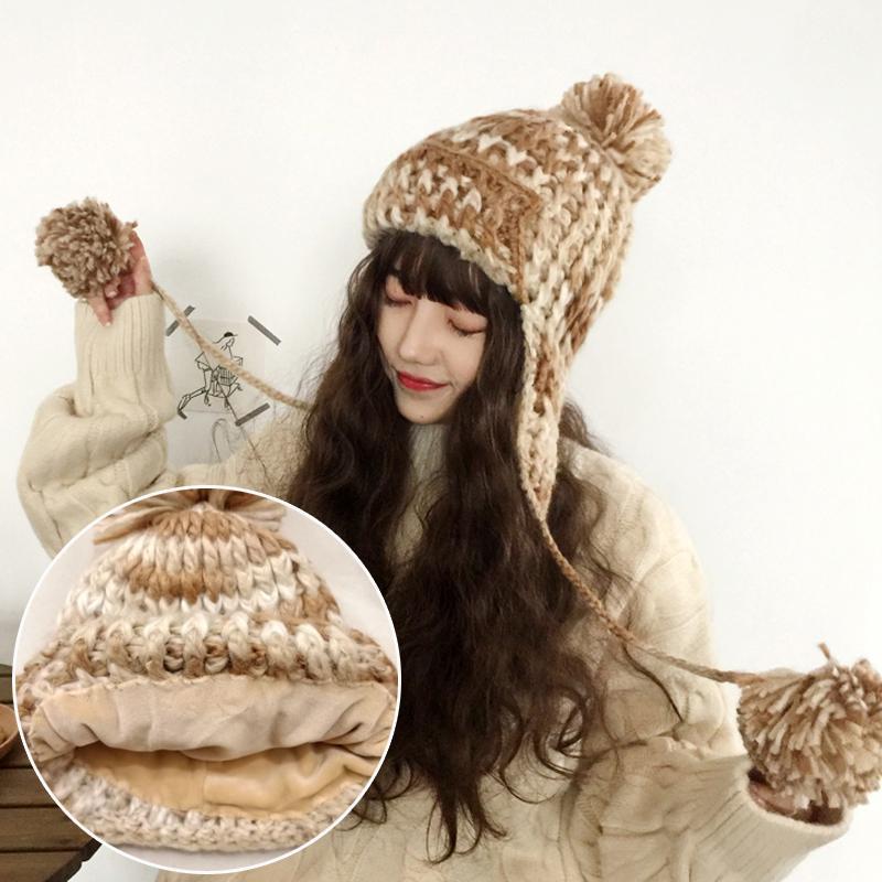 H3572 frauen warm bomber hut weibliche winter ohr schutz verdickte thermisch gestrickte kappe koreanische süße niedliche beiläufige haare kugelhüte