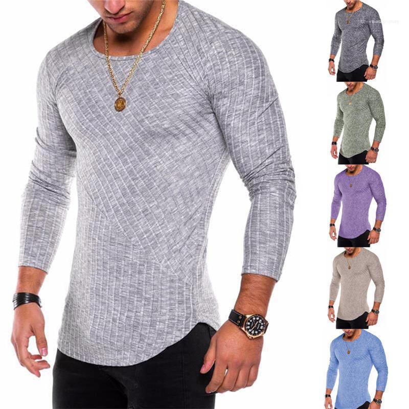 Diseñador de cuello para hombre tshirts primavera otoño manga larga de color sólido para hombre Tops ocasionales delgado delgado de tees de la tripulación