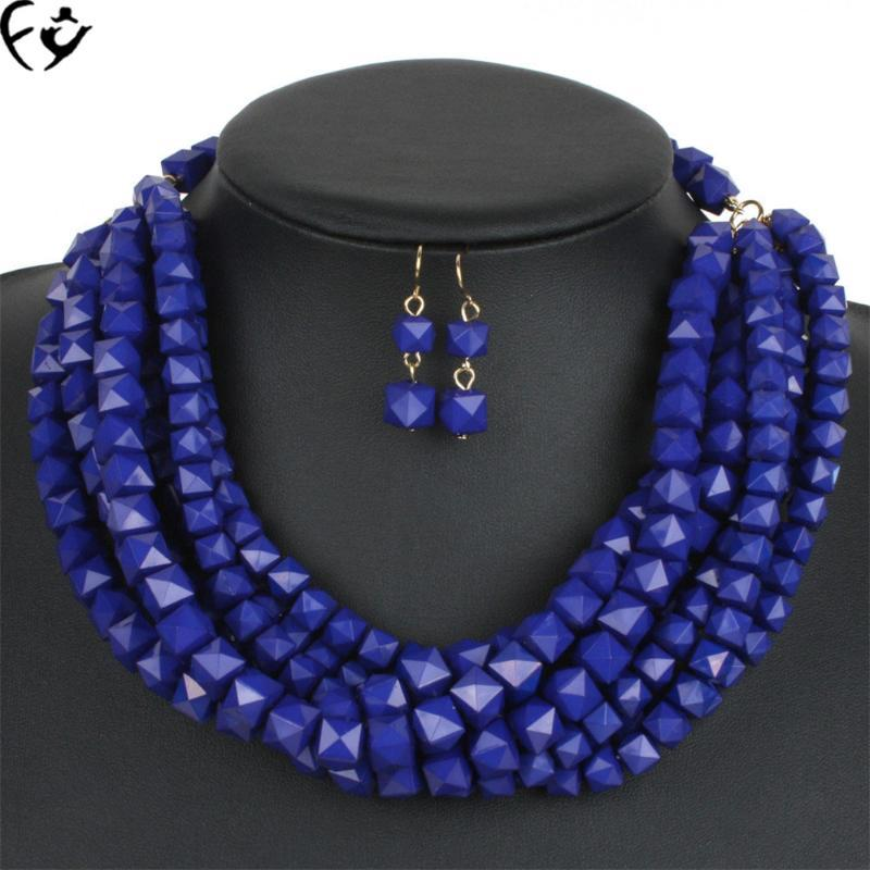 European and American hot - selling hand - beaded fashion personality multi layer suit necklace FY18084215