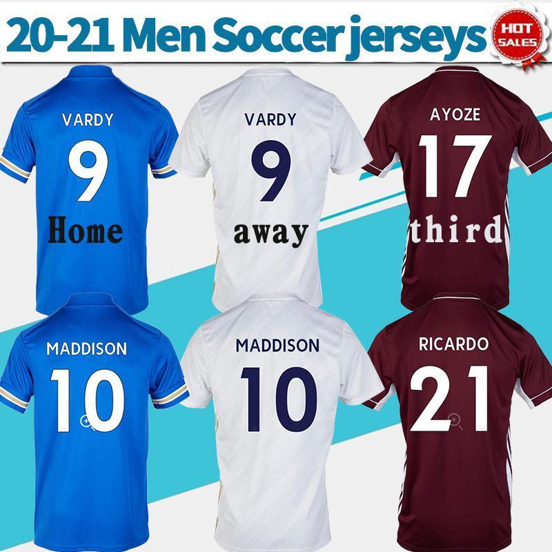 NCAA 2021 # 9 Vardy Soccer Jerseys Chemise de la ville 20/21 Men Soccer Chemises # 10 Maddison N ° 8 Tielemans 2021 Uniformes de football personnalisé