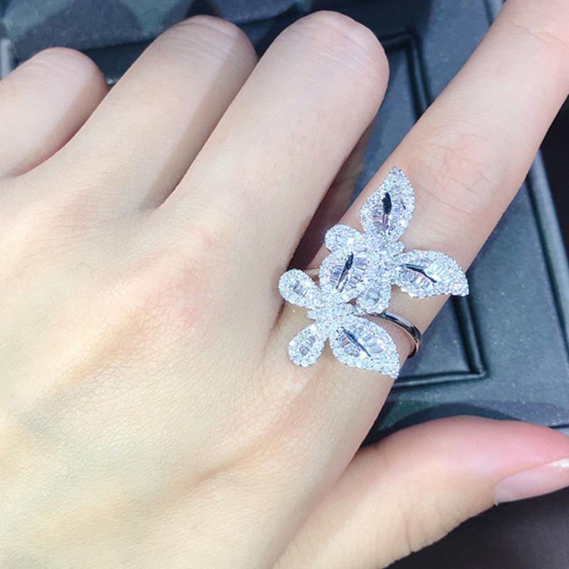 Duas borboletas 3a cz zircon diamantes anel mulheres menina menina branco cor casamento casamento banda cocktail festa jóias brilhante presente1