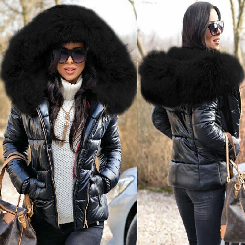 2020 Donne Down Donne Giacca Zipper Jacket Giacca Cappotto Inverno con cappuccio Fitto Cotone In Pelliccia imbottita Casual Slim Black Coat Broadcloth