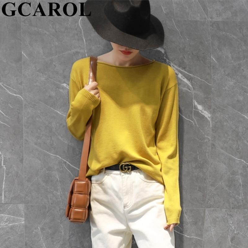 GCAROL Women 30% Wool Sweater Skin-Friendly Minimalist Jumper Drop Shoulder Candy Jersey Fall Winter Daily Pullover Knitwear 2XL 201030