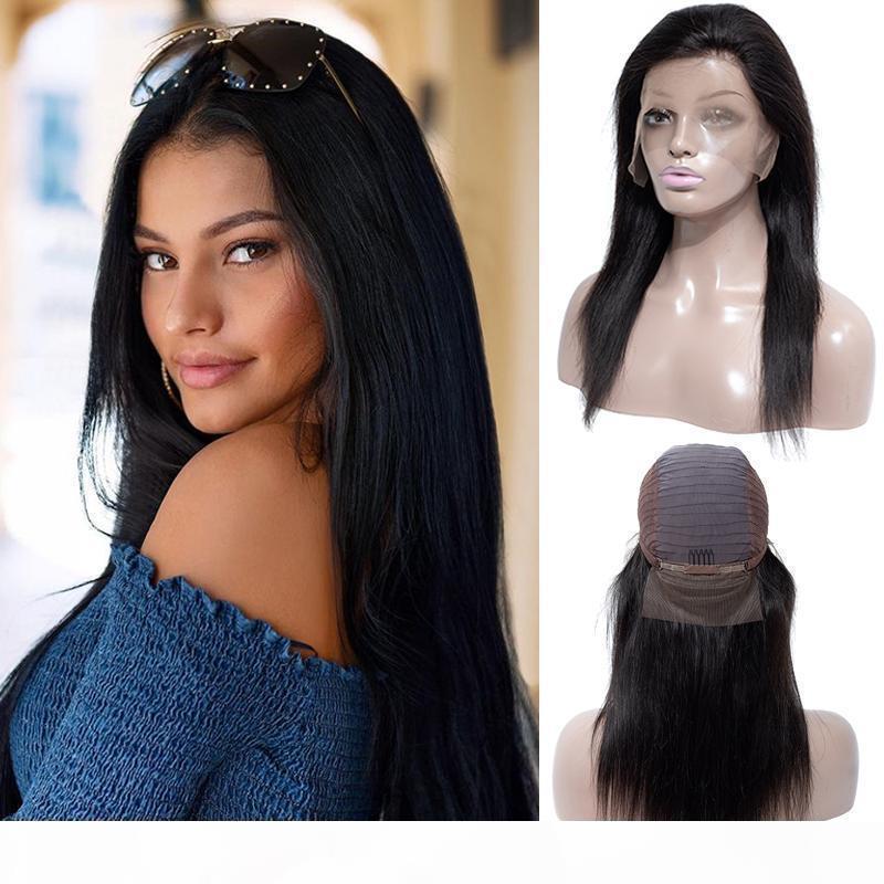 Brezilyalı Düz Saç Tam Dantel Peruk Vücut Derin Dalga Dantel Ön Peruk Ayarlanabilir Ön Kepçe Dantel Frontal İnsan Saç Peruk Siyah Kadınlar Toptan