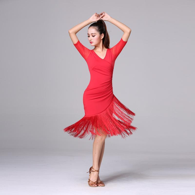 여자 성인 댄스웨어 프린지 훈련 훈련 의류 여름 무도회 살사 라틴 댄스 의상을위한 술 라틴 댄스