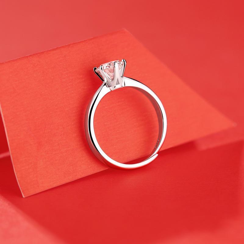 Anel Moissanite 1 Karat Novo Clássico Anel de Six-Garra S925 Silver Jewelry Live Ring