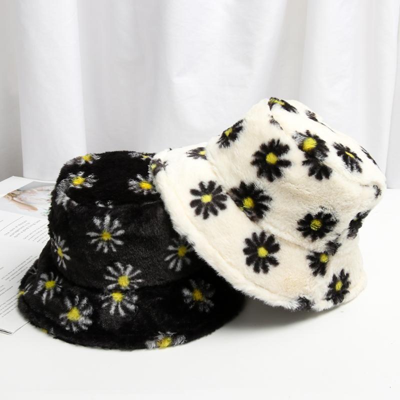 2020 Neue Frauen Imitation Pelz Winter Eimer Hut Frauen Mode Massive Farbe Angeln Hut Verdickte weiche warme Urlaub im Freien