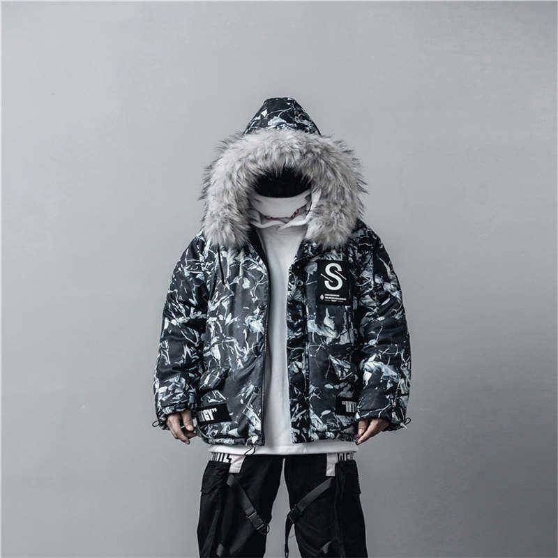 Cotton-padded jacket men's camouflage dark black street style winter thick jacket hooded tie-dye fur collar warm coat good quality M-XL