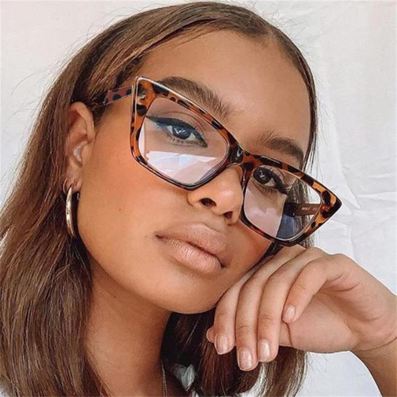 2020 Retro Ámbar Plaza de cristales de gafas del marco de las mujeres transparentes del marco de la miopía de los vidrios del empollón lente clara lentes ópticas