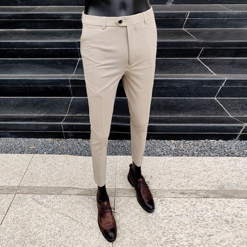 Мужские костюмы Blazers 2021 Летние мужские брюки Бизнес Высокое Качество Случайный мужской Костюм Брюки Мода Тощий Сплошной Цвет L401