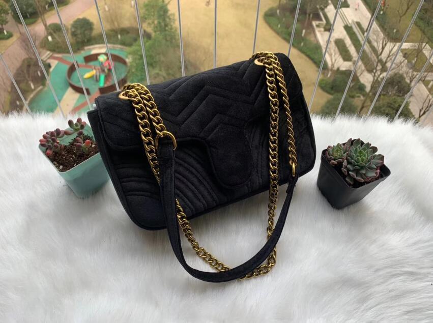 حار بيع الذهب سلسلة ماكياج حقيبة حزب marmont المخملية حقائب الكتف حقيبة المرأة حقائب حقائب crossbody 10778