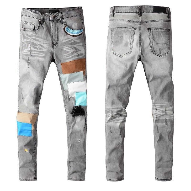Sıcak AM Satış Yeni Marka Erkek Tasarımcı Yama Fermuar Kot Düz Klasik Ince Pantolon Ünlü Varış Mercar Kot Üst Bacak LCLXS