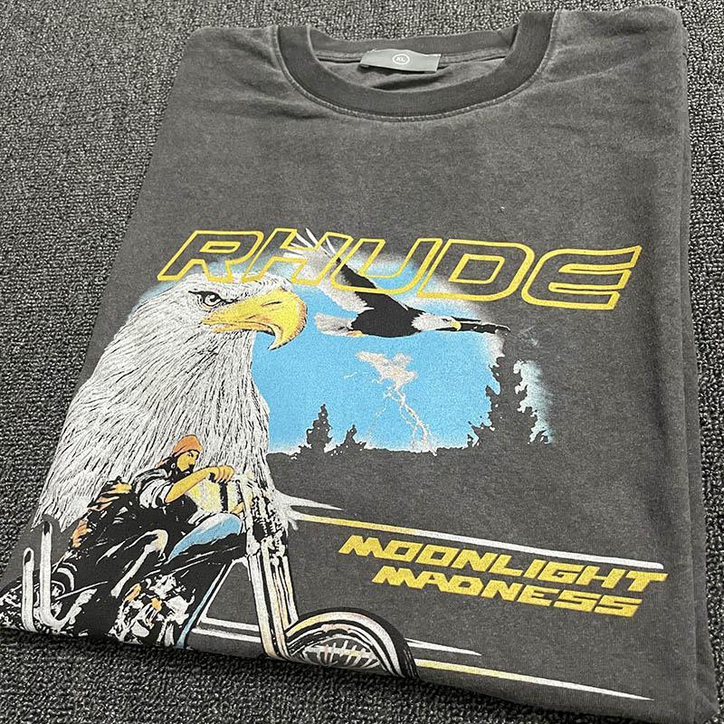 2021SS 봄 여름 두꺼운 패브릭 T 셔츠 남성 여성 고품질 회색 반팔 탑 티셔츠