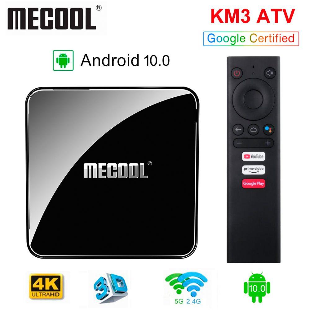 Certifié Google AndroidTV TV BOX KM3 ATV Android 10.0 4G / 64G AMLOGIC S905X2 Bluetooth Controller 2.4 / 5G WiFi Streaming 4K Media Player