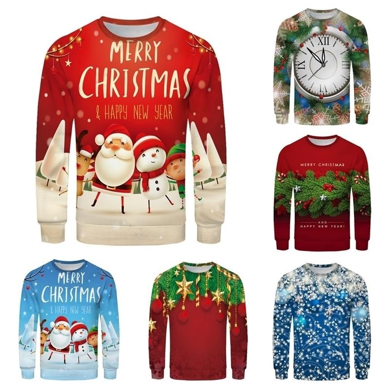 Ropa sudadera navidad primavera hombres mujeres pareja moda roja más tamaño 3d impresión manga larga sudorshirt Tops suéter 201124