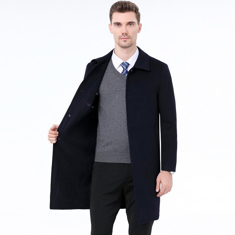 Осень зима 2020 Среднего возраста с двусмысленным пальто с двойным лицом мужские повседневные кашемировые шерстяные пальто мужское среднее длинное шерстяное пальто