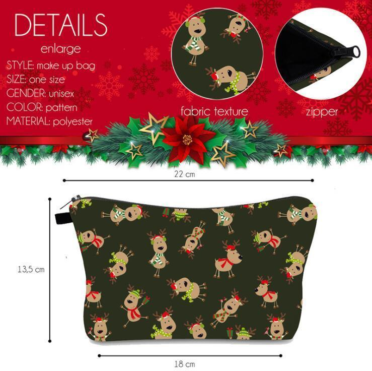 Christmas Cosmetic Printed Pouch Sundries Storage Bags Cross Border Fashion Handbag Portable Travel Zipper Organizer Bag DHA1273