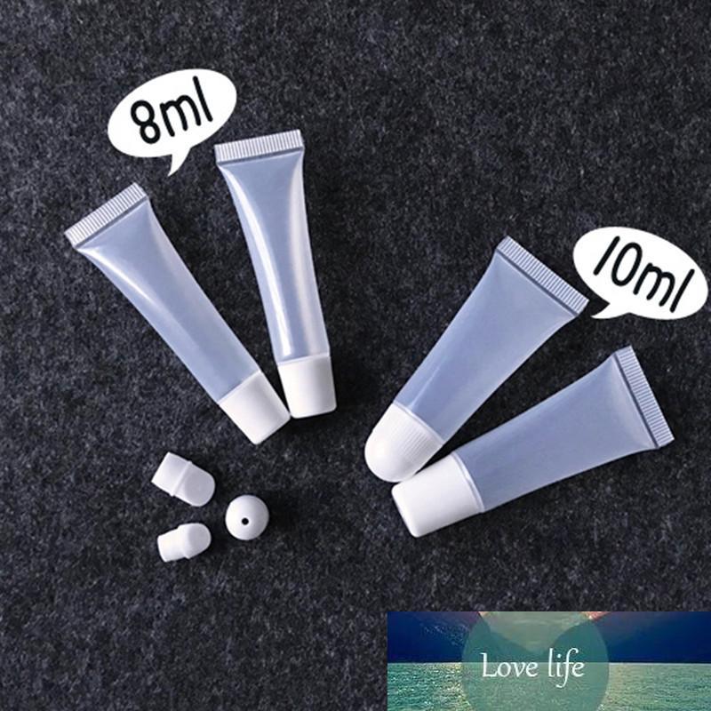 30/50 / 100 / 150pcs 8/10 мл ясно, белая мягкий шланг трубка с наклонно ртом крем для глаз lippie шланга косметической упаковки пустого шланга