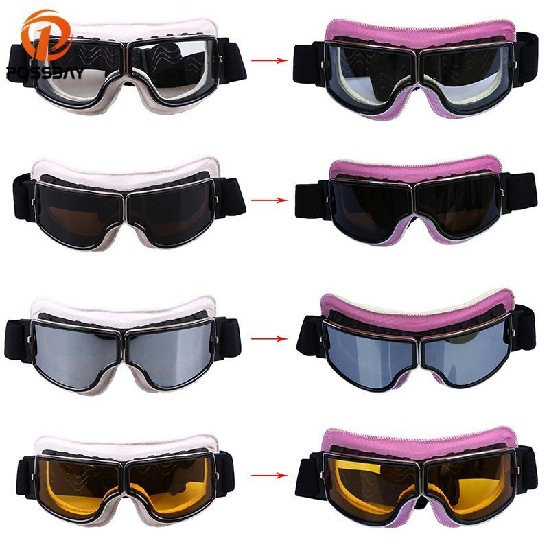 PASSION Vintage Motorrad Goggles Gläser Leder Weiß zu Rosa MX Ski Fahrrad Fahrrad Outdoor Motocross Googles Radfahren Eyewearcool