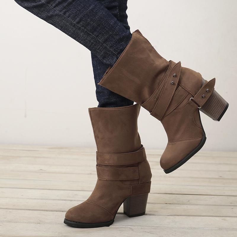 Stivali da donna autunno e inverno Moda casual da donna scarpe pelle scamosciata fibbia in pelle scamosciata stivali con tacco alto