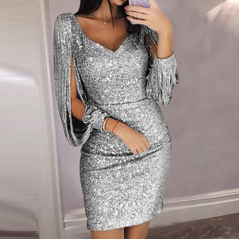Quaste Laterne Ärmel Paillettenkleid Frauen Sexy V-ausschnitt Bodyconkleider Sommer Mode Elegante Party Kleid Pailletten Vestidos 8L15091