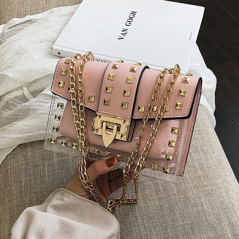 Diseñador de la marca Clear Brand 2020 Nuevo Moda Mensajero Bolsa Cadenas Bolsa de hombro Femenino Remaches Transparente Cuadrado PU Bolso