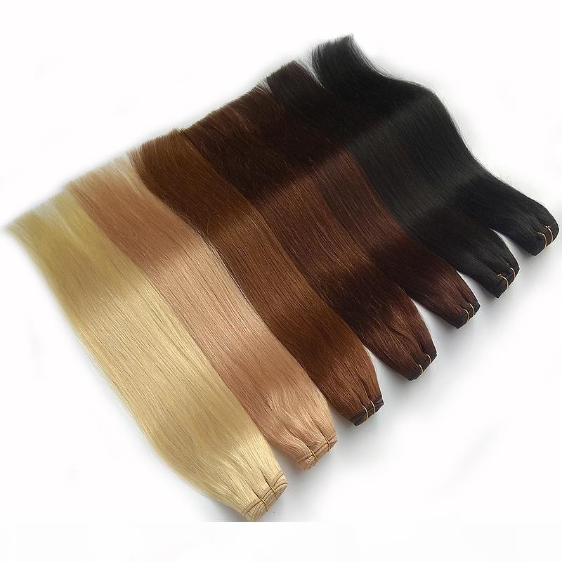 Brasilianische Haarwebart Bündel Gerade 100g 100% Human Haarverlängerung Natürliche Schwarz Braun Grau Rosa Rot Hochwertige Fabrik Direkt günstig