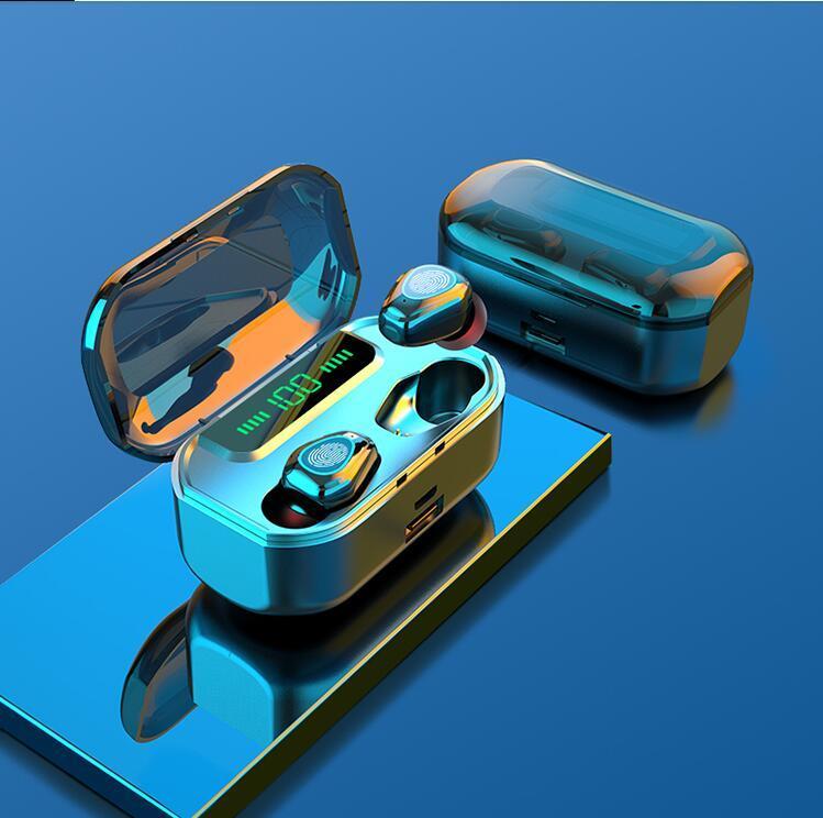 마이크 스포츠가있는 3500mAh 블루투스 무선 헤드폰 스포츠 방수 TWS 블루투스 이어폰 터치 컨트롤 무선 헤드셋 이어 버드