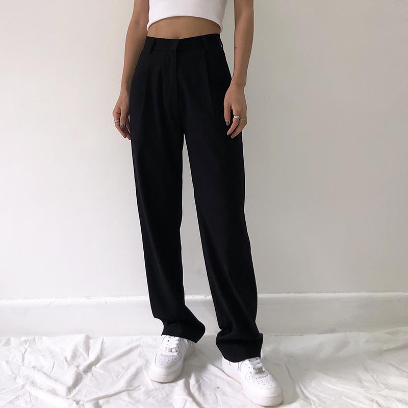 2020 جديد إمرأة أزياء عالية الخصر عارضة السراويل مكتب سيدة السراويل كامل طول الساق واسعة فضفاض أسود أنيق دعوى بنطلون